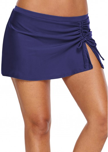 Mid Waist Navy Blue Drawstring Side Shorts - L