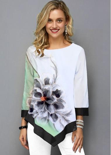 Flower Print Three Quarter Sleeve White T Shirt - 10