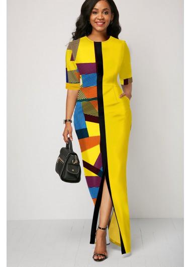 Geometric Print Half Sleeve Yellow Maxi Dress - 10