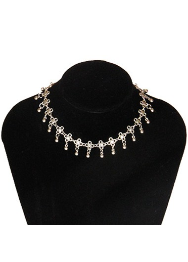 Star and Moon Design Sliver Necklace for Women - One Size