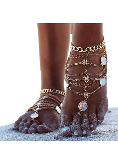 Sexy Layered Coin Decoration Gold Anklet - One Size