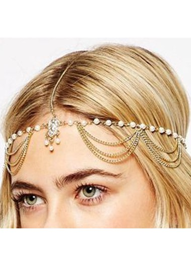 Metal Beads Detail Gold Hair Chain - One Size