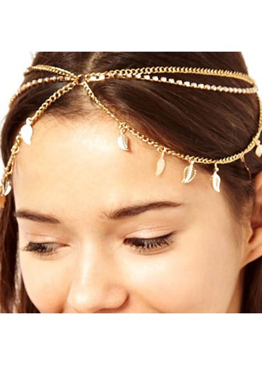 Leaf Shape Detail Metal Gold Hair Chain - One Size