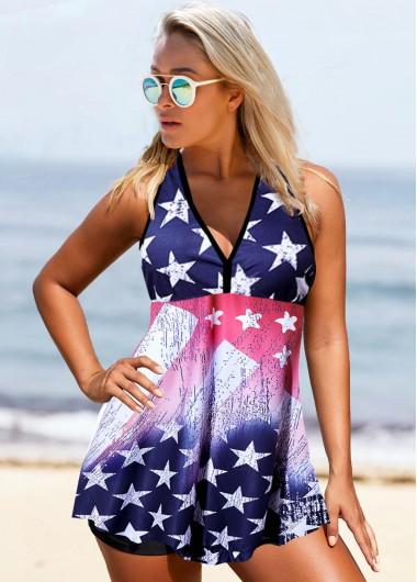 American Flag Print Straps V Neck Swimdress and Shorts - 10