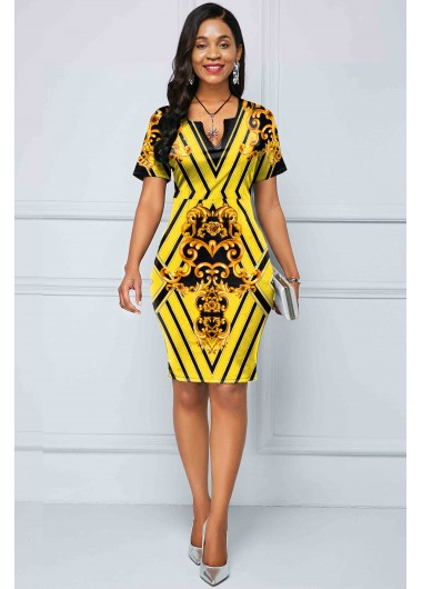 Tribal Print Short Sleeve Yellow Dress - 10