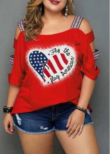 Plus Size American Flag Print Red T Shirt - 16W