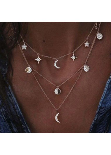 Silver Metal Star and Moon Decorated Necklace - One Size