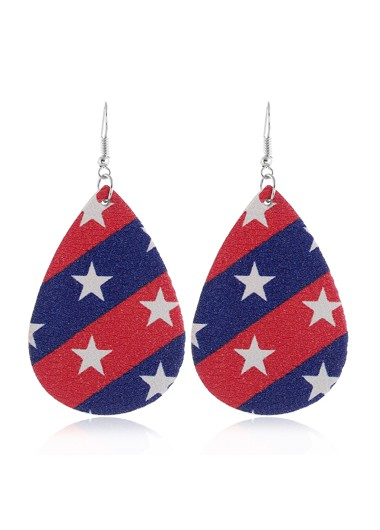 Starry Print Color Block American Flag Print Earring Set - One Size