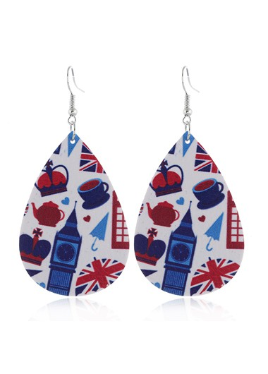Flag Day Print Color Block Earring Set - One Size
