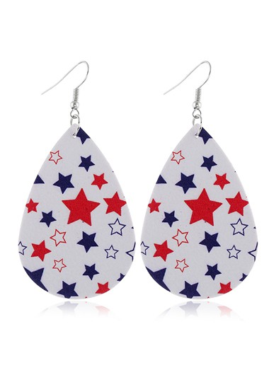 American Flag Print Color Block Earring Set - One Size