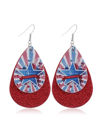 Wine Red Starry American Flag Print Earring Set - One Size