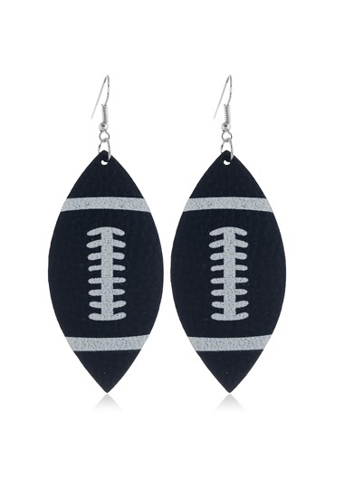 Flag Day Rugby Print Black Earring Set - One Size