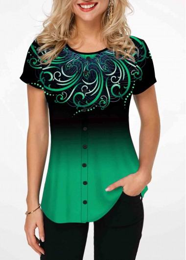 Tribal Print Round Neck Green Ombre T Shirt - L