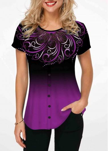 Tribal Print Purple Short Sleeve Ombre T Shirt - L