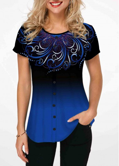 Blue Tribal Print Gradient Short Sleeve T Shirt - L
