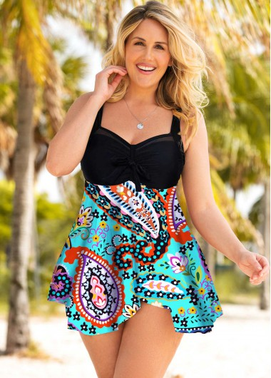 Paisley Print Plus Size Wide Strap Swimdress and Shorts - 1X