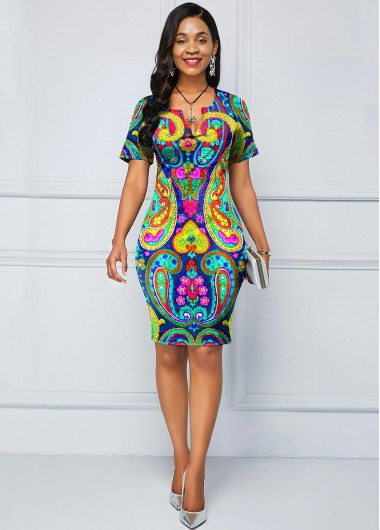 Paisley Print Short Sleeve Split Neck Dress - 10