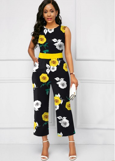 Flower Print Sleeveless Yellow Round Neck Jumpsuit - 18
