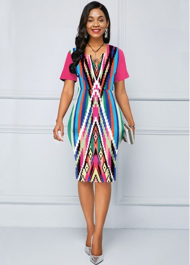 Short Sleeve Geometric Print Multi Color Dress - 10