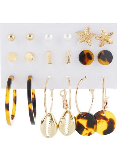 9pairs Faux Pearl Star Shaped Acrylic Earring Set - One Size