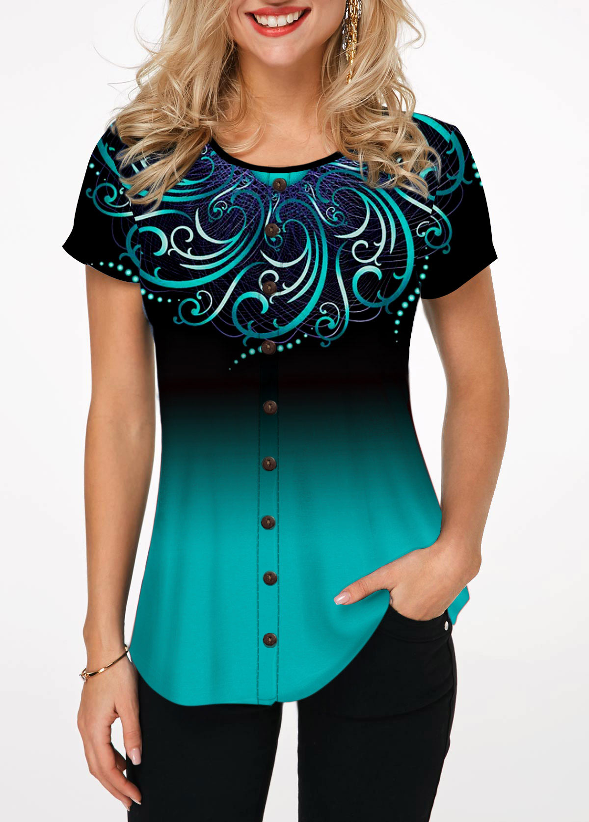 Round Neck Button Embellished Printed Blouse