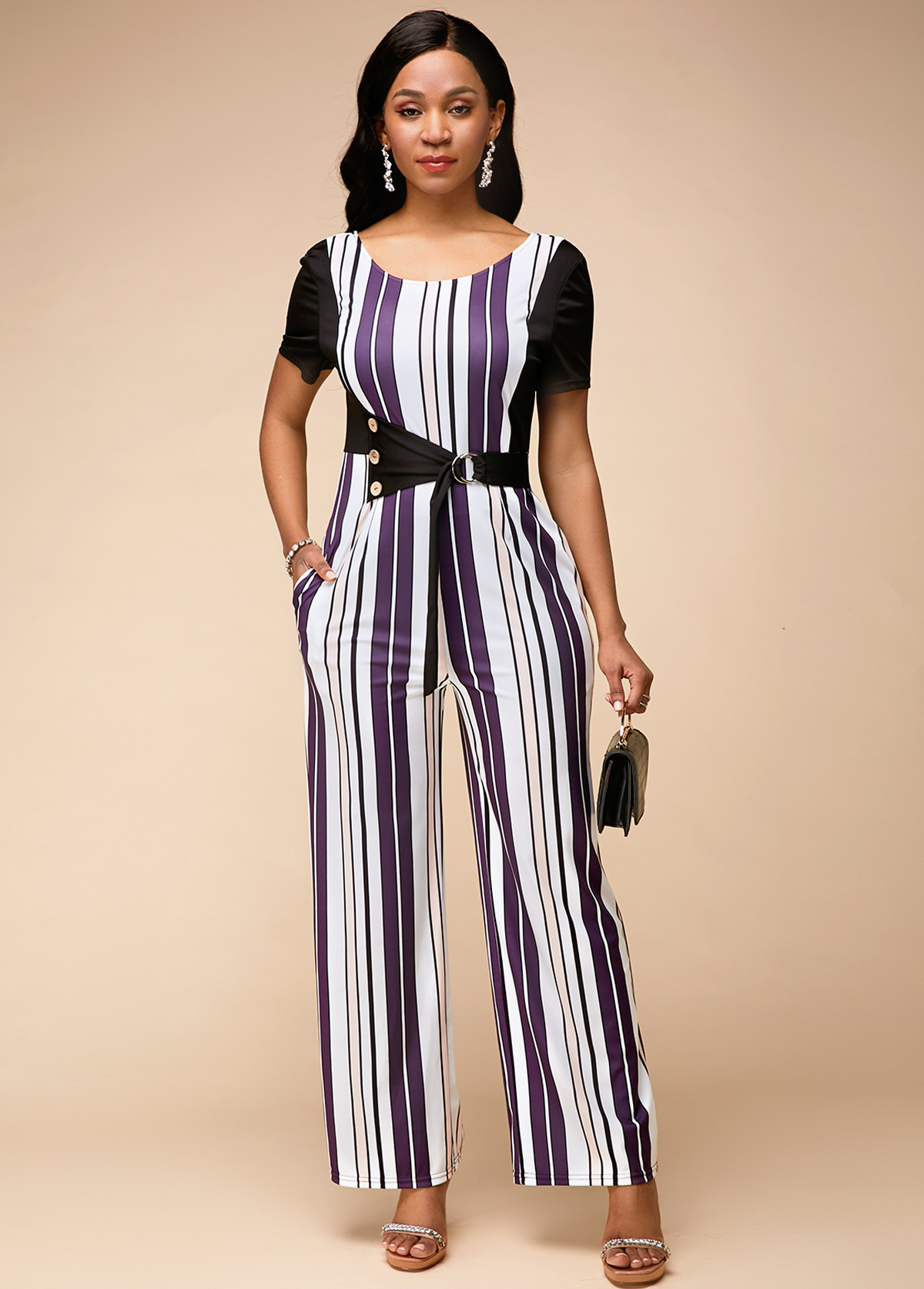 Stripe Print Round Neck Short Sleeve Jumpsuit