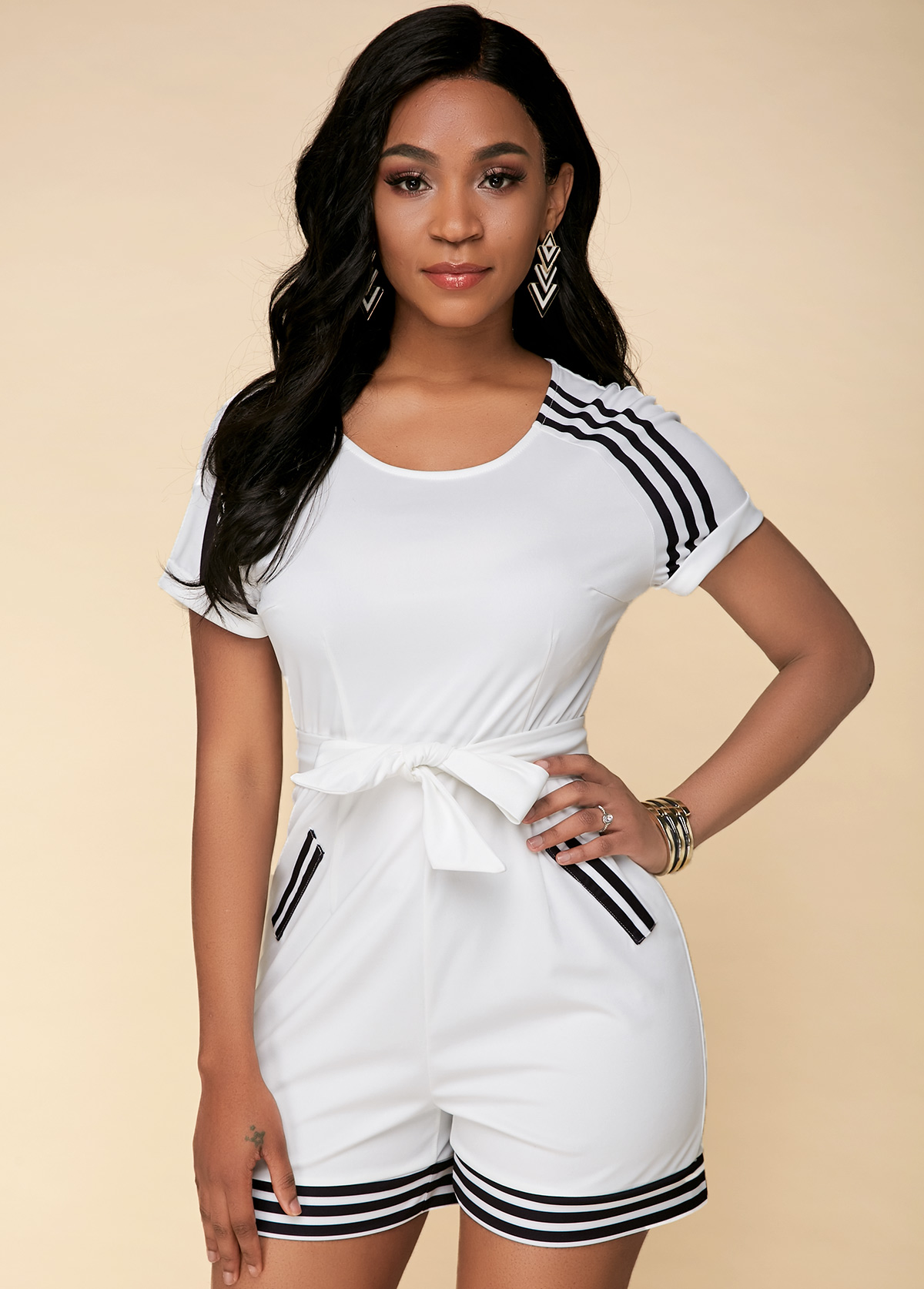 Bowknot Striped Short Sleeve White Jumpsuit