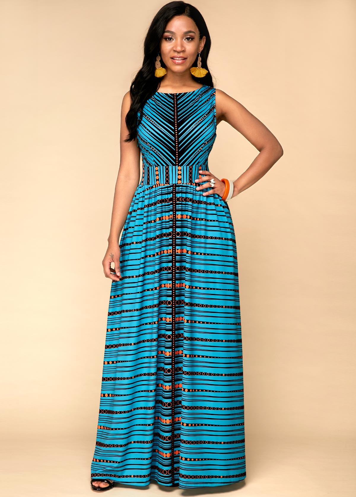 Tribal Print Sleeveless High Waist Dress