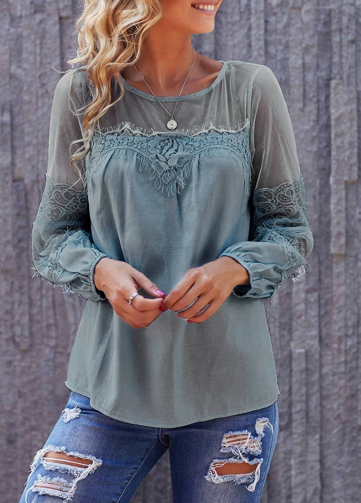 Round Neck Light Blue Long Sleeve Lace Panel Blouse
