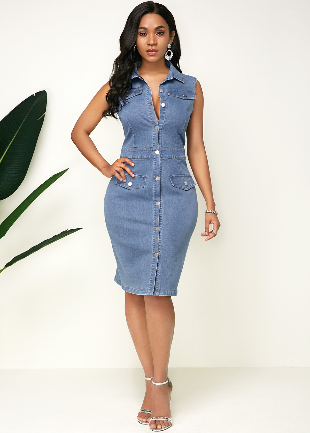 Button Up Turndown Collar Sleeveless Denim Dress