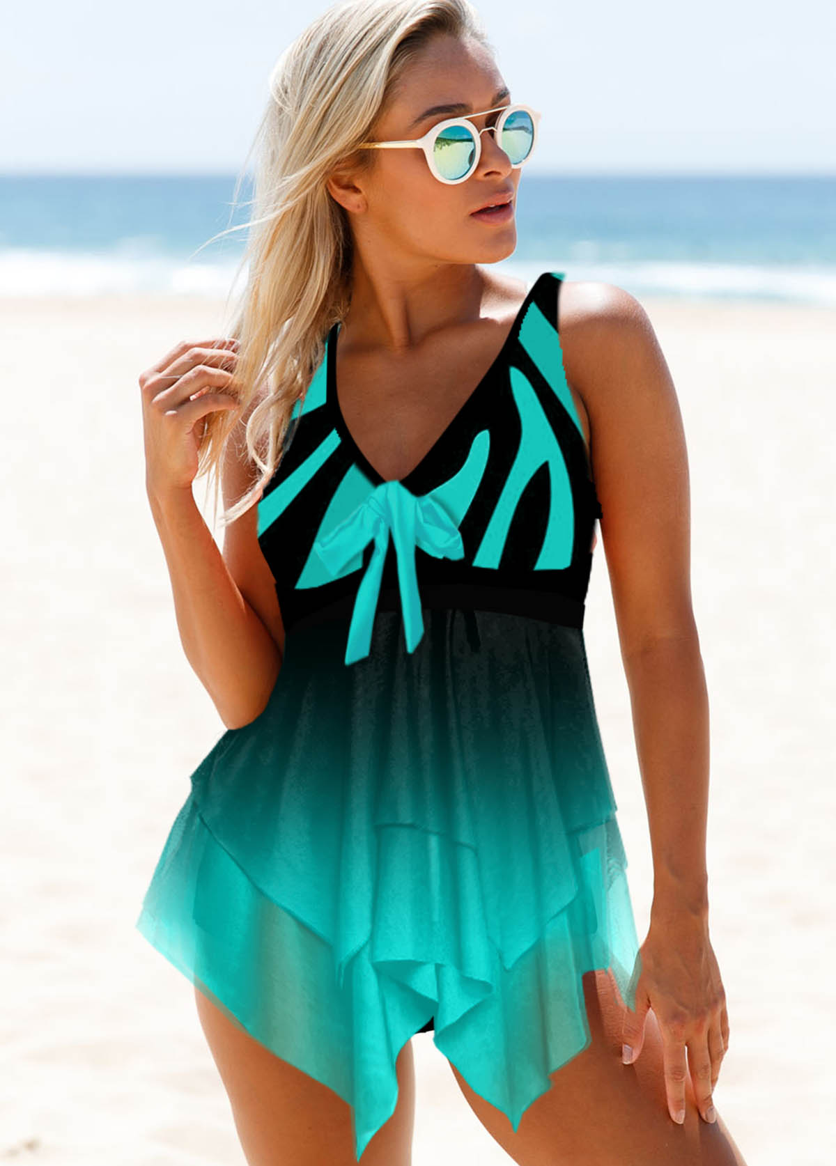Bowknot Detail Printed Wide Strap Mesh Panel Swimdress and Panty