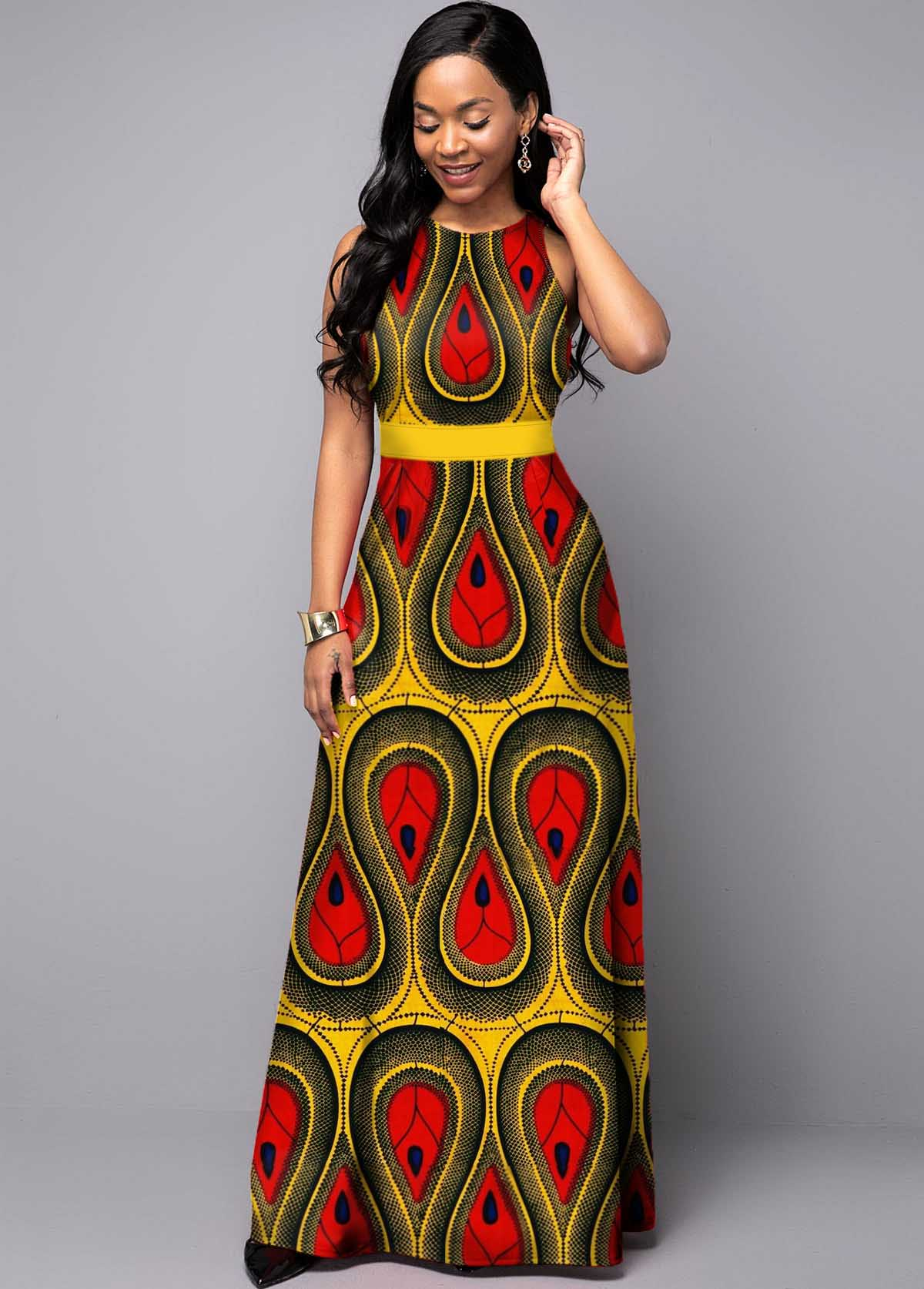Tribal Print Sleeveless Round Neck Maxi Dress