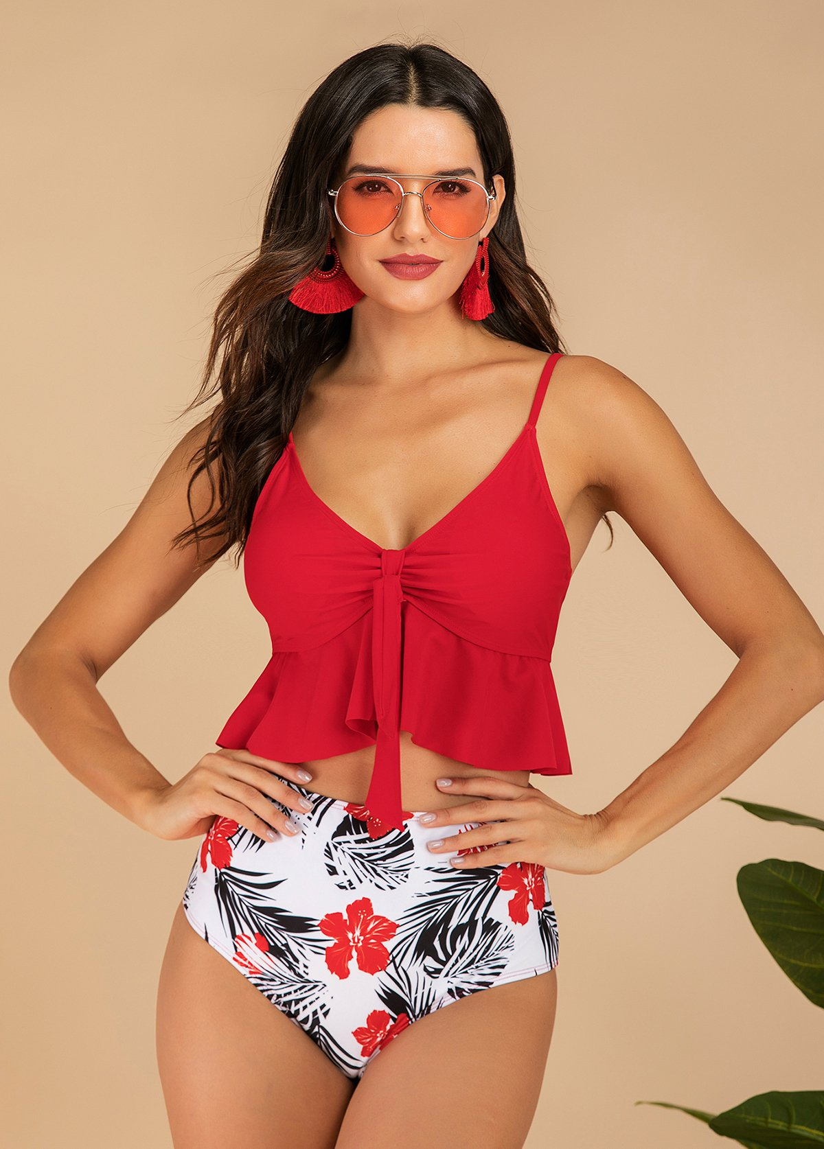 Spaghetti Strap Red Flounce High Waist Takini Set