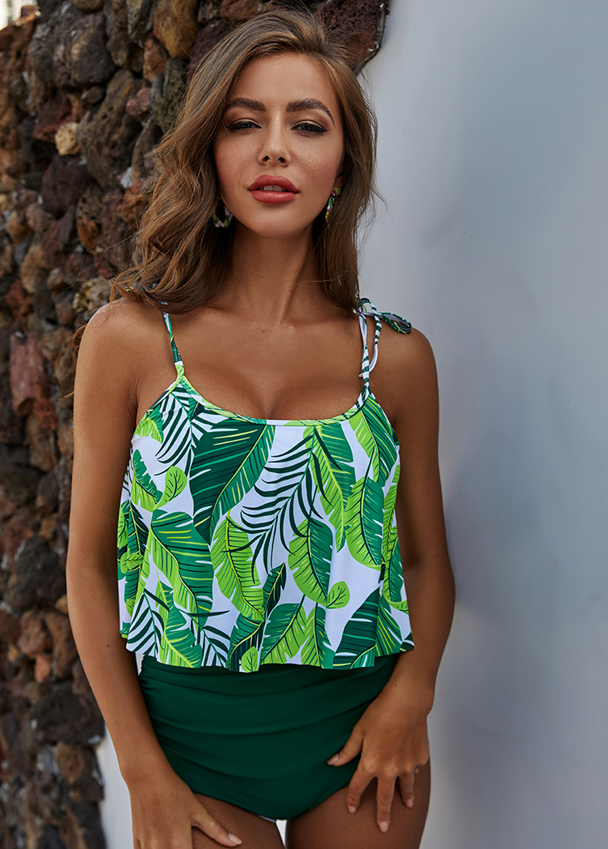 High Waist Leaf Print Green Tankini Set