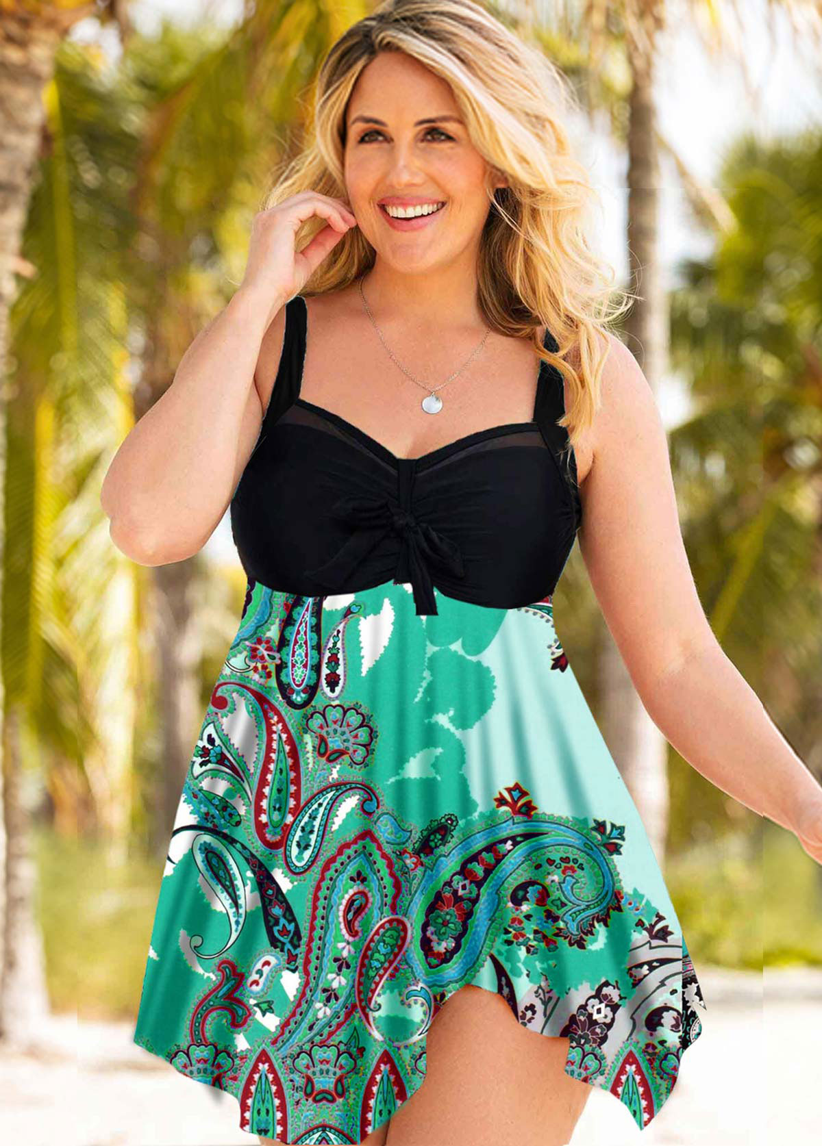 Plus Size Bowknot Detail Wide Strap Swimdress and Panty