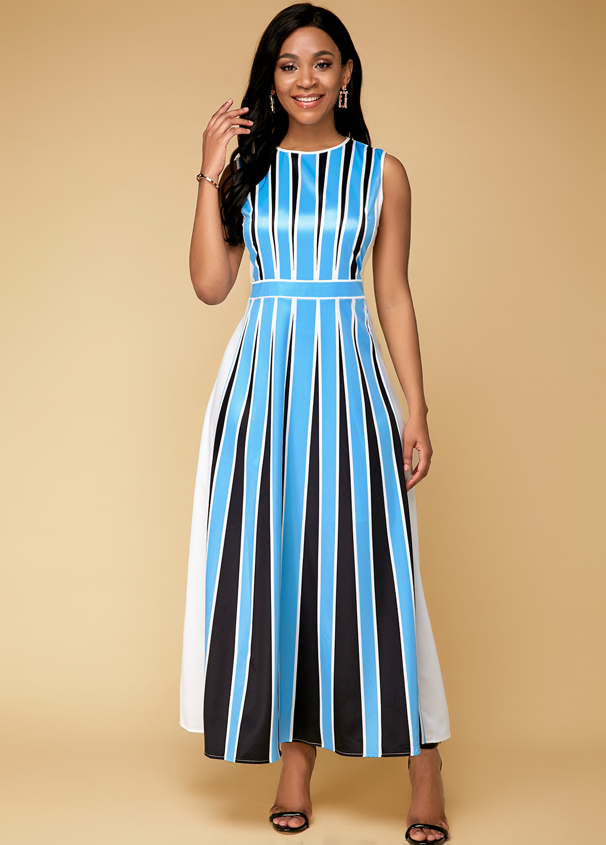Stripe Print Blue Sleeveless Maxi Dress