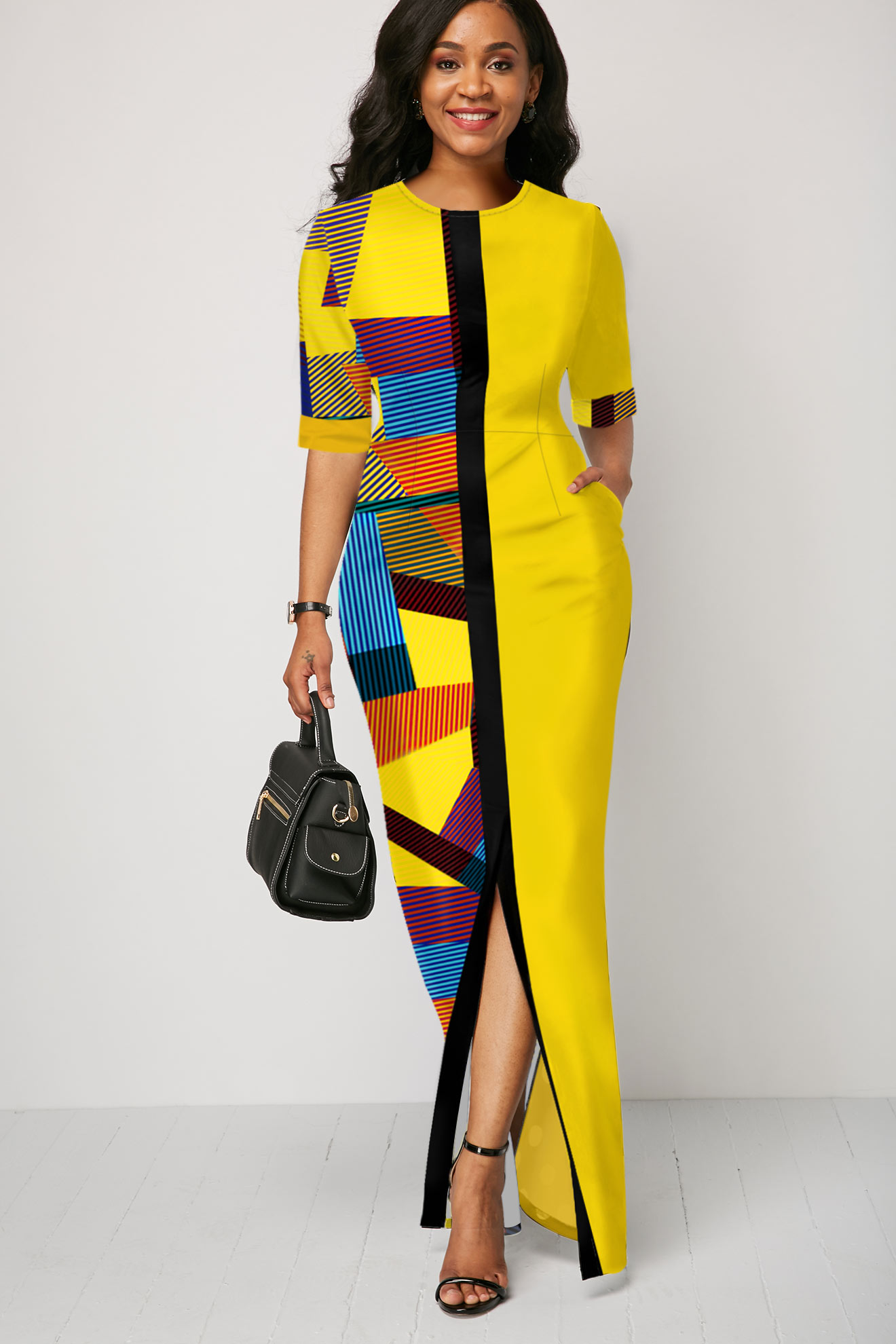 Geometric Print Half Sleeve Yellow Maxi Dress