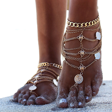 Sexy Layered Coin Decoration Gold Anklet