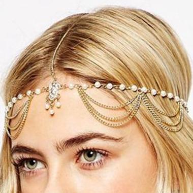 Metal Beads Detail Gold Hair Chain