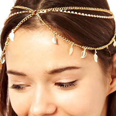 Leaf Shape Detail Metal Gold Hair Chain