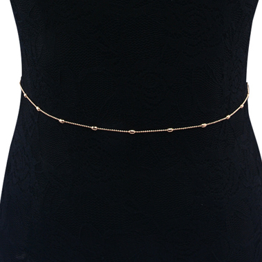 Round Bead Detail Gold Metal Waist Chain