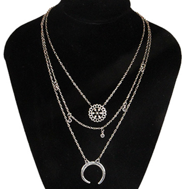 Star and Moon Design Sliver Necklace for Women