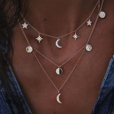 Silver Metal Star and Moon Decorated Necklace