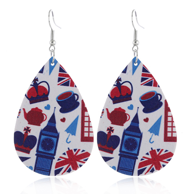 Flag Day Print Color Block Earring Set
