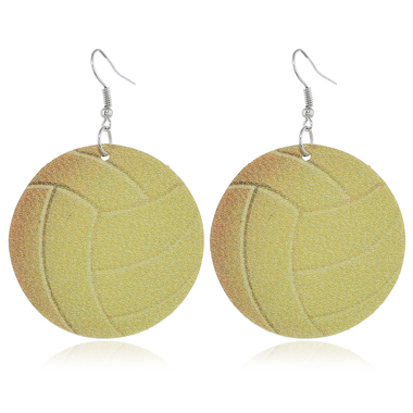 Volleyball Design Light Yellow Earrings