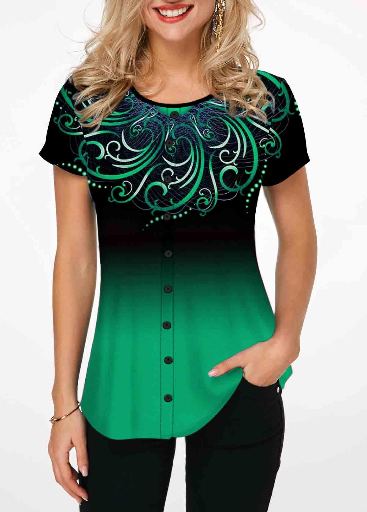 Tribal Print Round Neck Green T Shirt