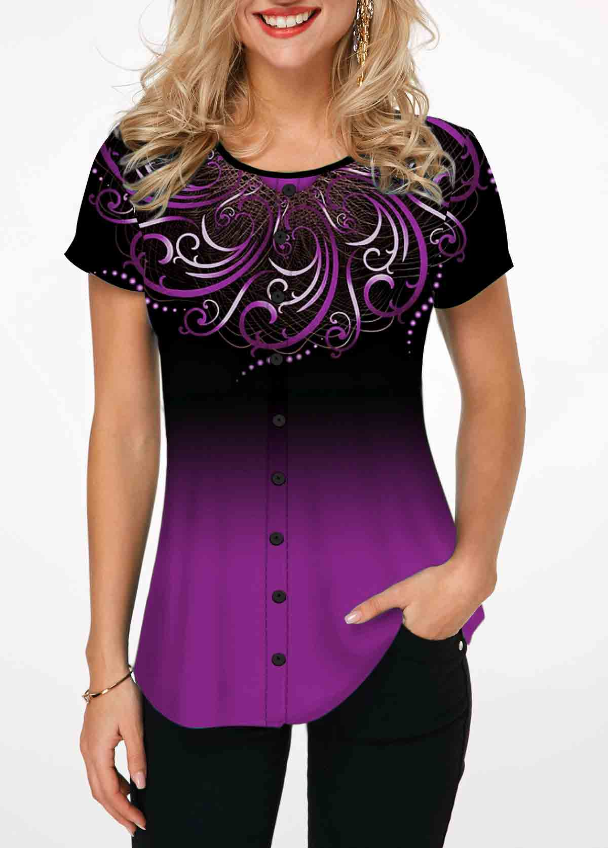 Tribal Print Purple Short Sleeve Ombre T Shirt