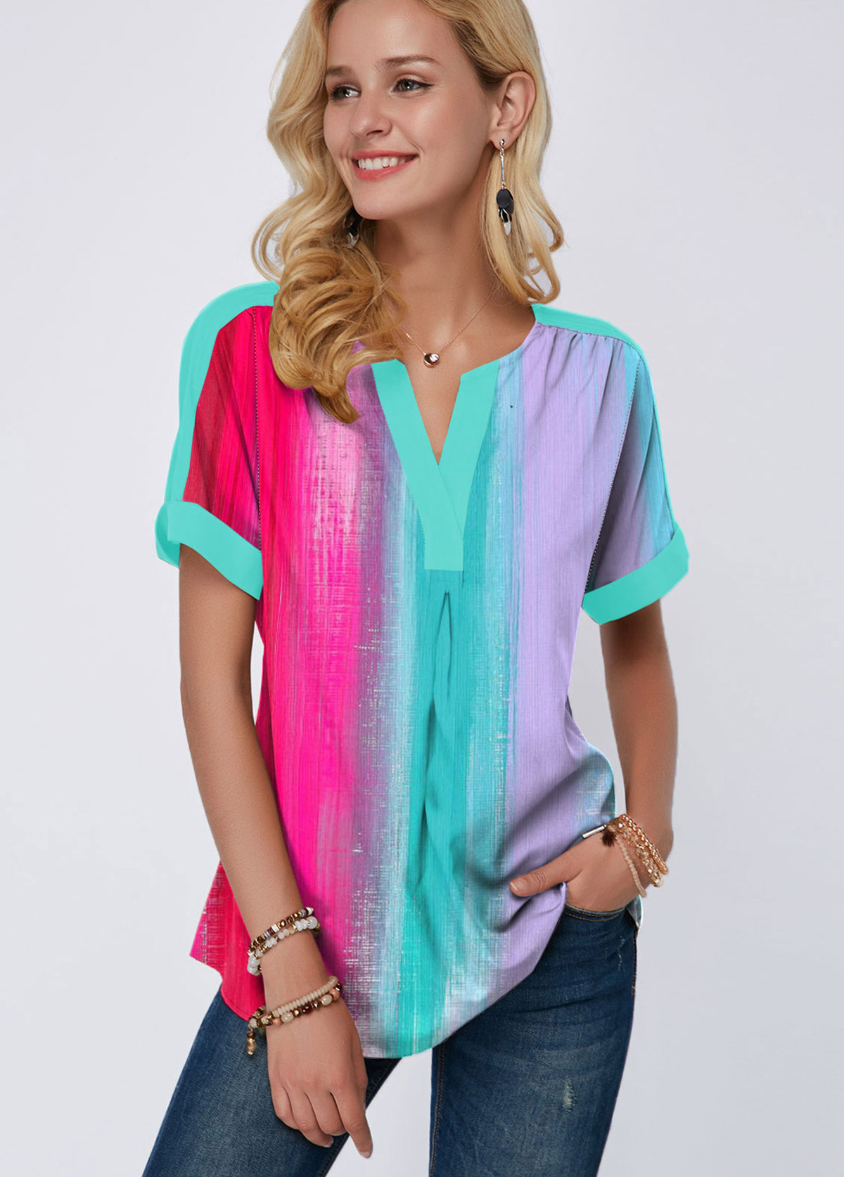 Split Neck Short Sleeve Gradient Print T Shirt