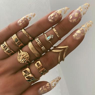 11pcs Gold Metal Material Rings for Women