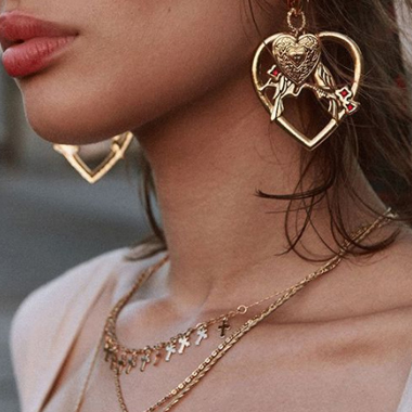 Metal Heart Shaped Gold Hoop Earring Set